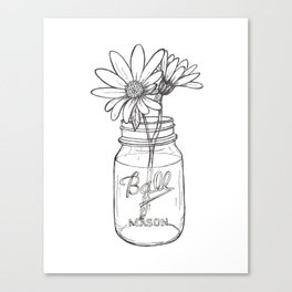 Flowers in a Jar | Mason Ball Jar Sunflowers Daisies Canvas Print
