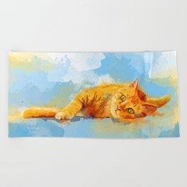 Cat Dream - orange tabby cat painting Beach Towel