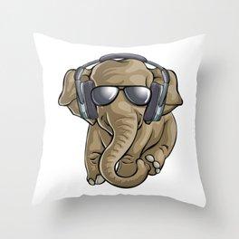 Cute Baby Elephant DJ Throw Pillow