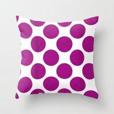 Fuchsia Polka Dot Throw Pillow