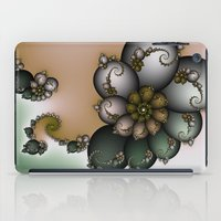 novelty iPad Cases featuring Trinket Flower Fractal by Moody Muse