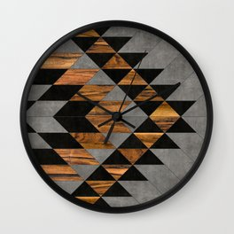 Urban Tribal Pattern 10 - Aztec - Concrete and Wood Wall Clock