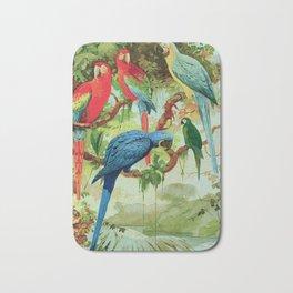 Amazonian Birds August Belem Brazil Colorful Tropical Birds Scientific Illustration Parrots Bath Mat