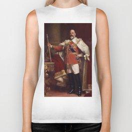 King Edward VII in coronation robes Biker Tank