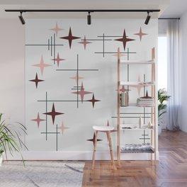 Mid Century Modern Stars (Pink) Wall Mural