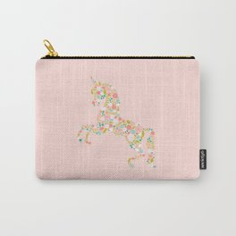 Floral Unicorn in Pink Carry-All Pouch