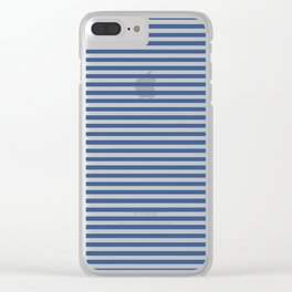 Blue and White Vintage Thin Stripes Clear iPhone Case