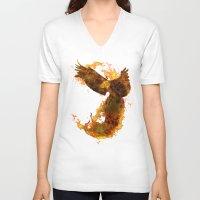 phoenix V-neck T-shirts featuring Phoenix by Barruf