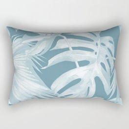 Teal Blue Tropical Palm Leaves Rectangular Pillow