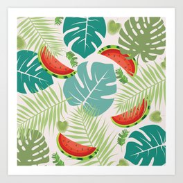 Tropical red green watermelon fruit floral Art Print