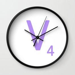 Scrabble Monogram Purple V Wall Clock
