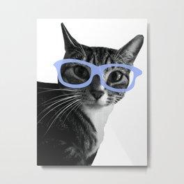 Yoshi Cat Glasses Metal Print