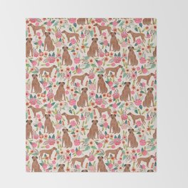 Rhodesian Ridgeback floral dog breed gifts pure breed must have dog pattern Throw Blanket