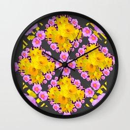 Charcoal-Grey Pink Roses Daffodils Pattern Art Wall Clock