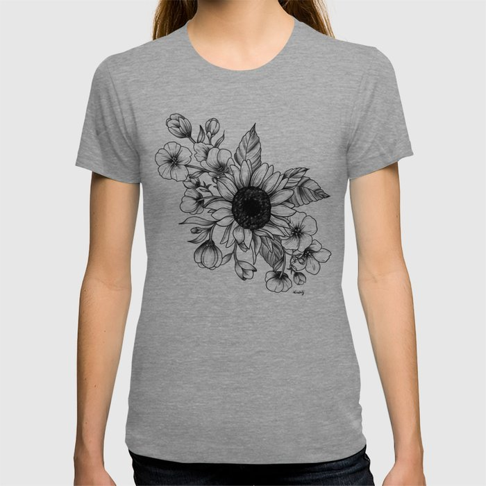 Bouquet of Flowers with Sunflower / Fall floral lineart T-shirt