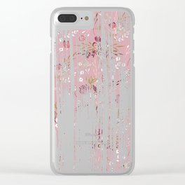 Vintage chic pink white red boho floral brushstroke pattern Clear iPhone Case