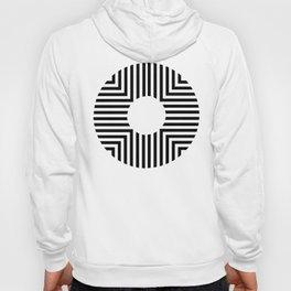 Modern Minimalist Geometric Striped Circle Black & White Hoody