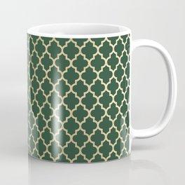 Forest green faux gold stylish moroccan quatrefoil Coffee Mug