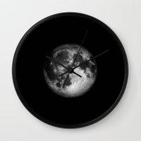 the moon Wall Clocks featuring moon by Tudor