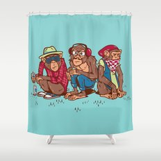 Three Wise Hipster Monkeys Shower Curtain