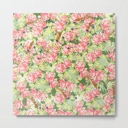 Botanical pink white green roses feathers floral pattern Metal Print