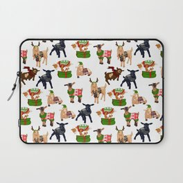 Christmas goats in sweaters repeating seamless pattern Laptop Sleeve