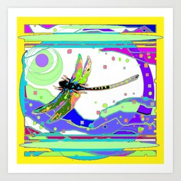 Moonscape Rainbow Dragonfly Yellow Abstract Art Print