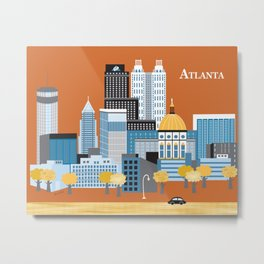 Atlanta, Georgia - Skyline Illustration by Loose Petals Metal Print