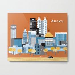 Atlanta, Georgia - Skyline Illustration by Loose Petals Metal Print