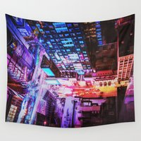 runner Wall Tapestries featuring New York City Blade Runner by Vivienne Gucwa