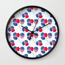 American USA Flag Balloon Patriotic July 4th Wall Clock