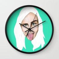 cara delevingne Wall Clocks featuring Cara Delevingne by Alejo Malia