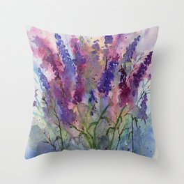 Delphinium Blues, from my original watercolor Throw Pillow