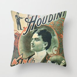 Houdini, king of cards, vintage poster Throw Pillow
