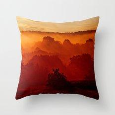 Mystical foggy morning Throw Pillow