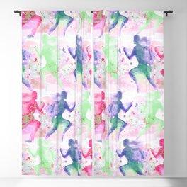 Watercolor women runner pattern Blackout Curtain