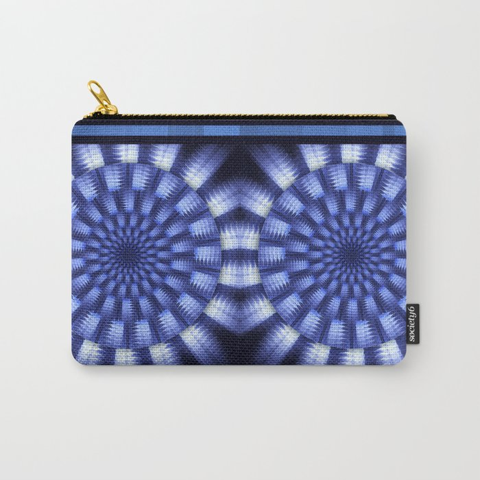 Round blue / white winter pattern design Carry-All Pouch