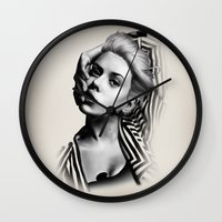lip Wall Clocks featuring Pulling Lip by BeckiBoos