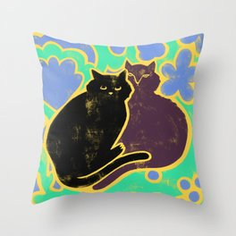 Two Cats Cuddling Throw Pillow
