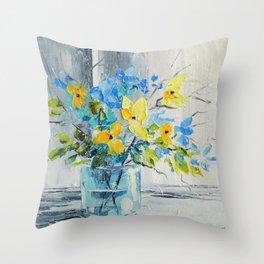 Bouquet of garden flowers Throw Pillow
