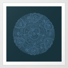 Primitive Blue Circle Art Print