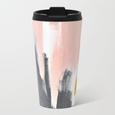 Gray and pink abstract Travel Mug