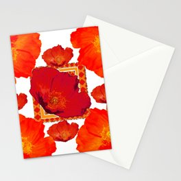 ORANGE-RED POPPIES MODERN COLLAGE ART Stationery Cards
