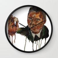 christopher walken Wall Clocks featuring Christopher Walken as Captain Koons by rusto