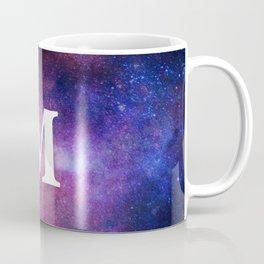 Monogrammed Logo Letter M Initial Space Blue Violet Nebulaes Coffee Mug