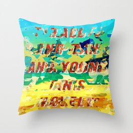Girl from the Beach – Decollage 1 – A Hell Songbook Edition Throw Pillow