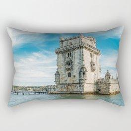Belem Tower of Saint Vincent In Lisbon, Wall Art Print, Historic Architecture Art, Poster Decor Rectangular Pillow