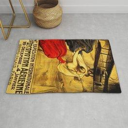 Vintage Pre-WWI Paris International Airshow Lithograph Advertisement Poster Rug