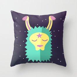 Yacana: The Space Llama Head (Cyan) Throw Pillow