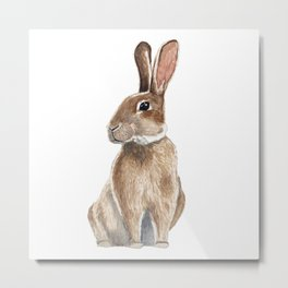 Rabbit in Grass Watercolor Metal Print
